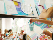 watercolor painting activity for a birthday party