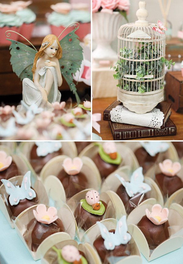 whimsical fairy party decor and butterfly, lady bug and flower topped chocolate truffles