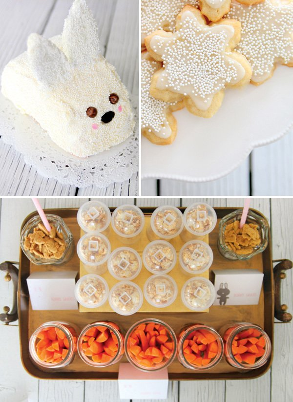 winter rabbit or bunny smash cake and rabbit inspired party foods