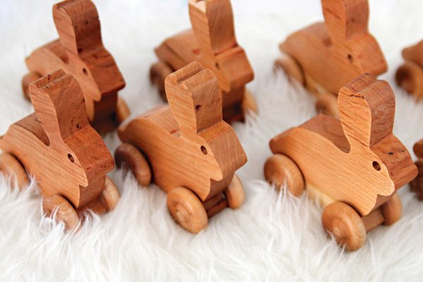 wooden rolling rabbit party favors