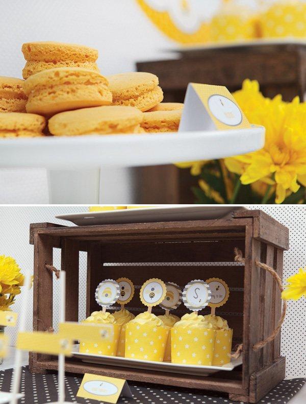 yellow honey macarons and desserts
