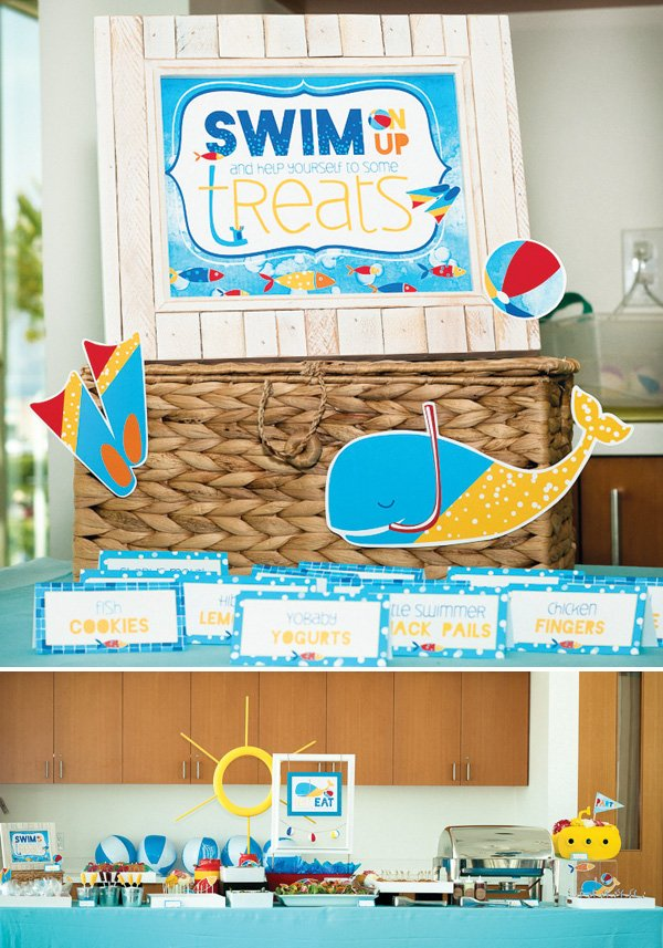 Swim Party Treat Sign and Food Buffet