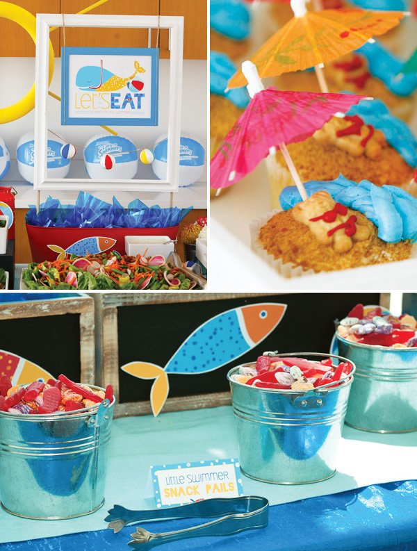 Beach Teddy Bear Cupcakes and Snack Pails with Candy Fish
