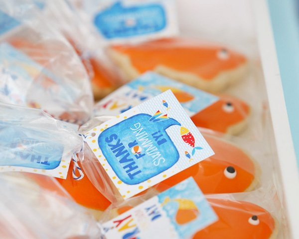 Fish Cookie Swim Party Favors and Hostess INK Favor Tags