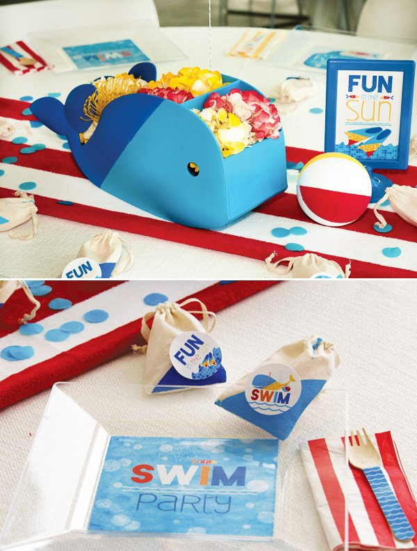 swim party table ideas - whale centerpiece and beach towel runners