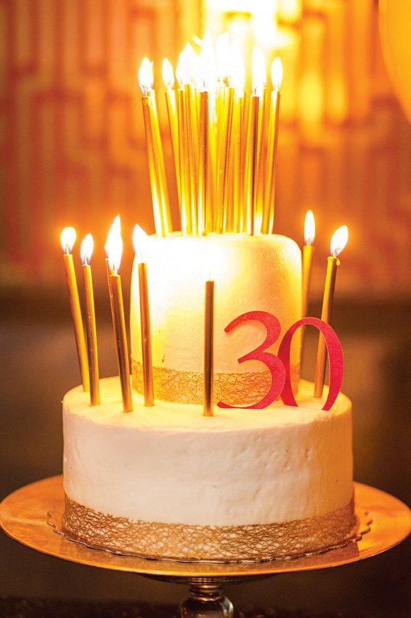 white and gold 30th birthday cake