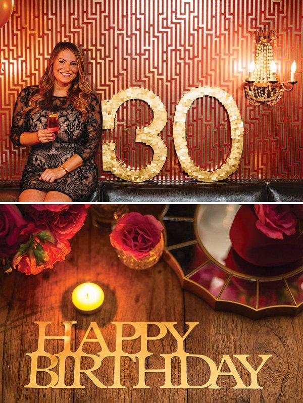 golden 30th birthday confetti sign