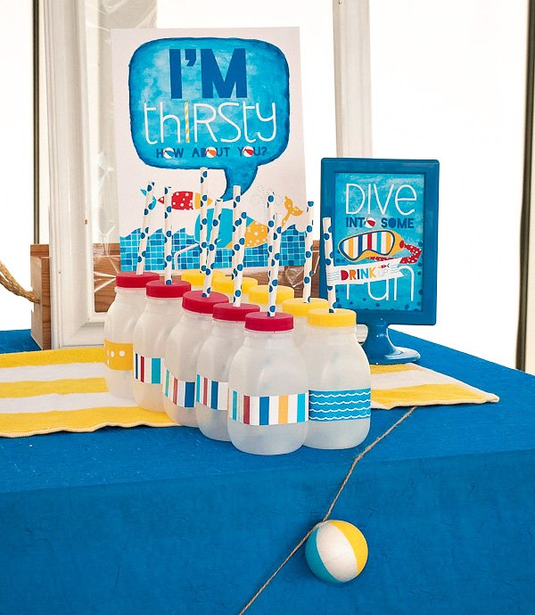 pool party drink station and Hostess INK party signs