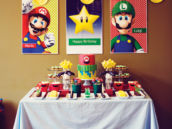 DIY Mario Brothers party backdrop