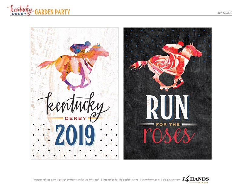 Kentucky Derby Printable Signs