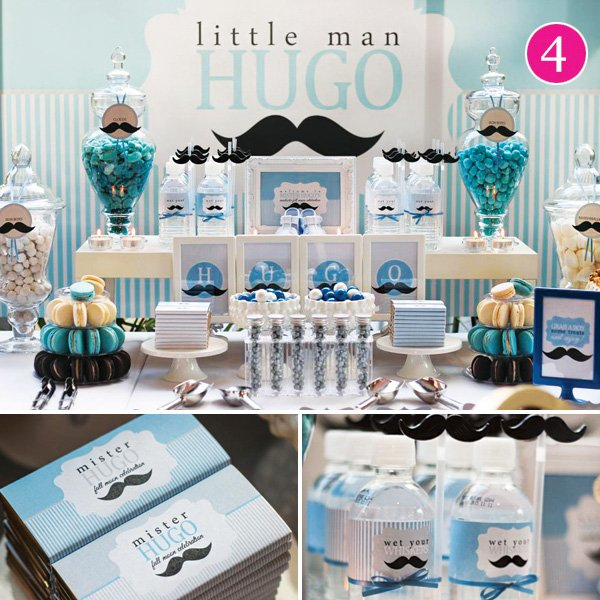 little man mustache birthday party dessert table