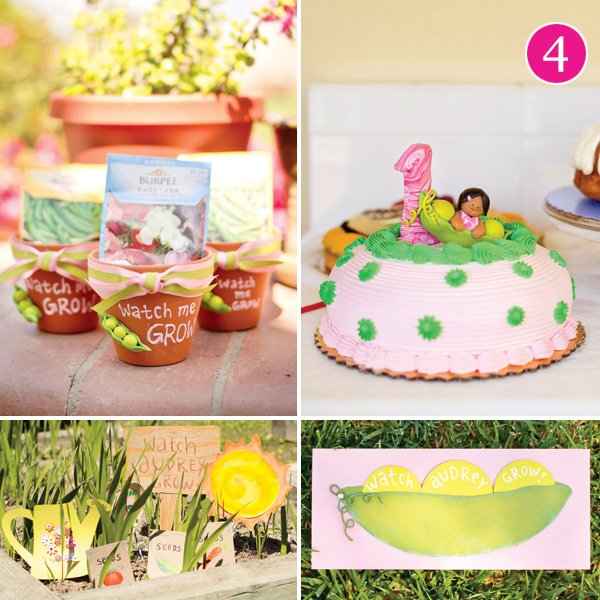 watch me grow garden pea pod first birthday party