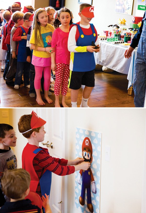 Pin the mustache on Mario birthday party game