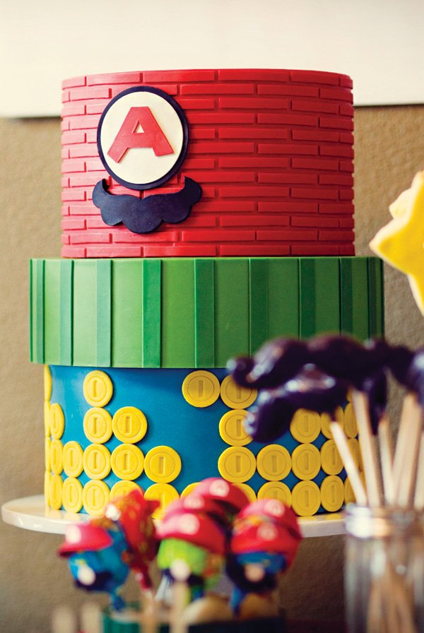 super mario brothers brick, pipe and gold coin birthday cake