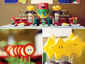 super mario brothers themed desserts and table