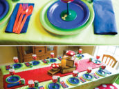 super mario brothers decorated tablescape for a birthday party