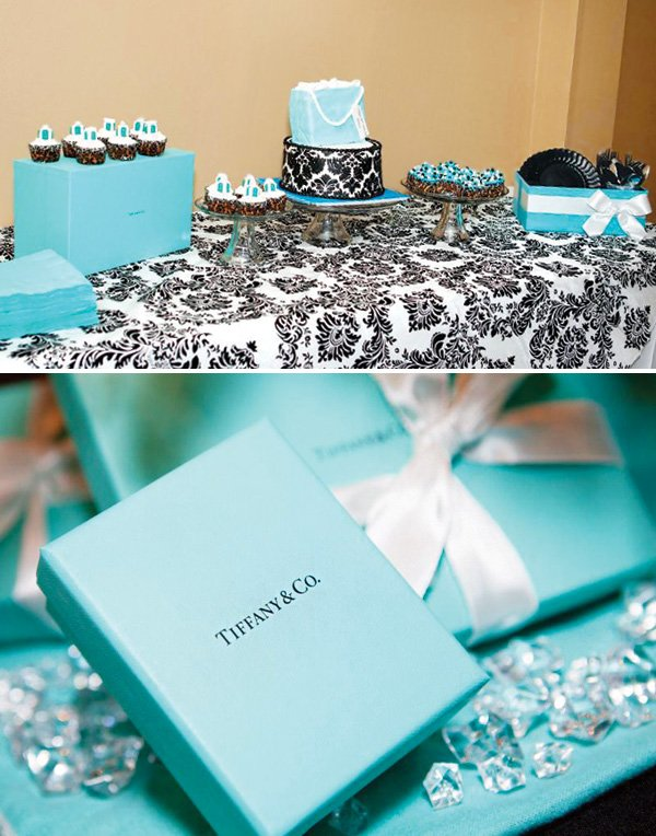 tiffany themed 30th birthday party dessert table