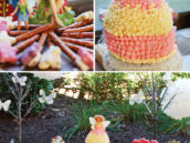 woodland fairy party desserts table and barbie doll dress cake