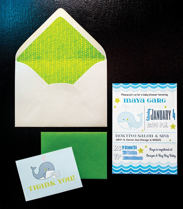 baby shower blue and green invitation