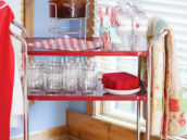 a vintage bar cart for a baby shower