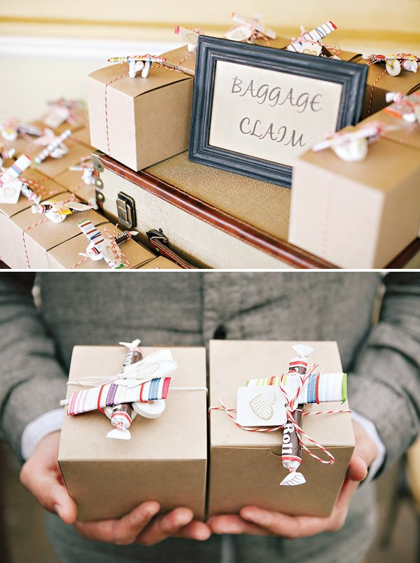 baggage claim party favor boxes and candy airplanes