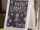 ballet party chalkboard sign