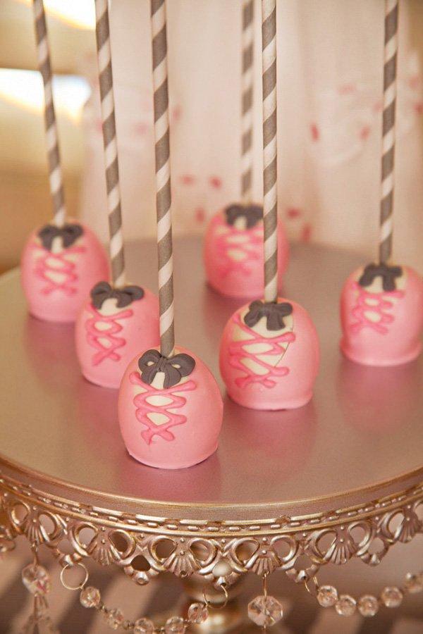pink ballet slipper cake pops