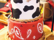 bandana paisley and cow print cowboy birthday cake