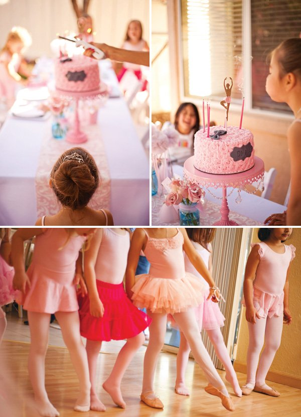 birthday party ballet class and pink ballet cake