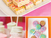 a birthday party's colorful desserts like cake pops, rice krispies and marshmallows