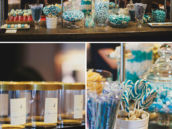 blue candy buffet party favors