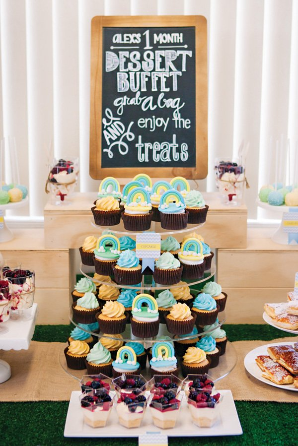 blue rainbow cupcake tower