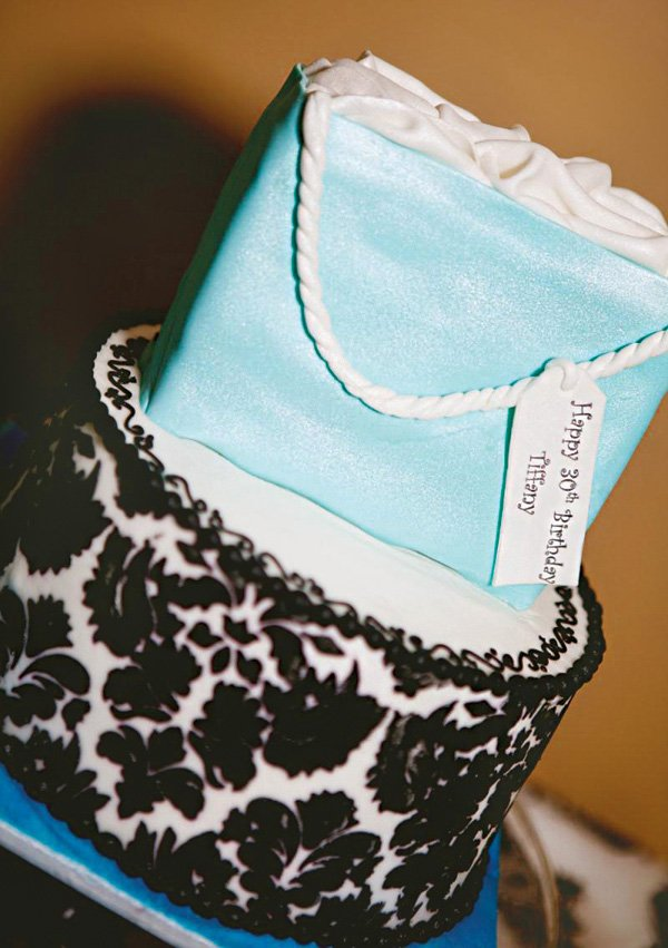 blue tiffany bag birthday cake