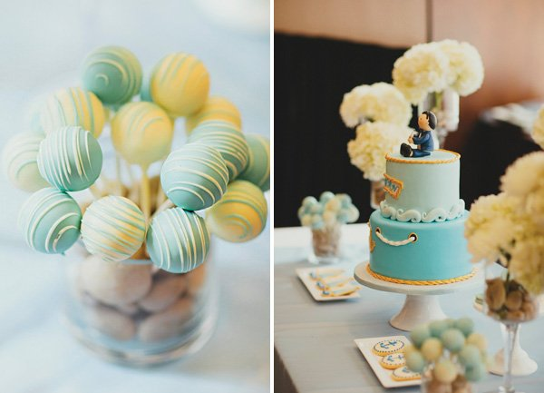blue and yellow birthday desserts