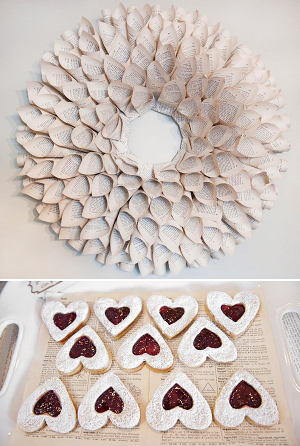 book pages wreath and heart shaped cookies