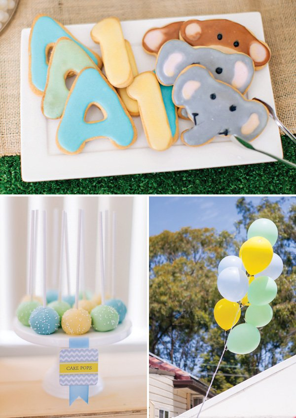 boy's pastel blue green and yellow party decor and desserts