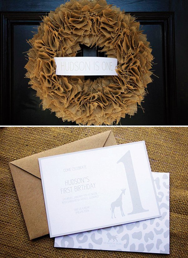 burlap door wreath and safari party invitations