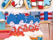 cat in the hat first birthday cookies and cupcakes