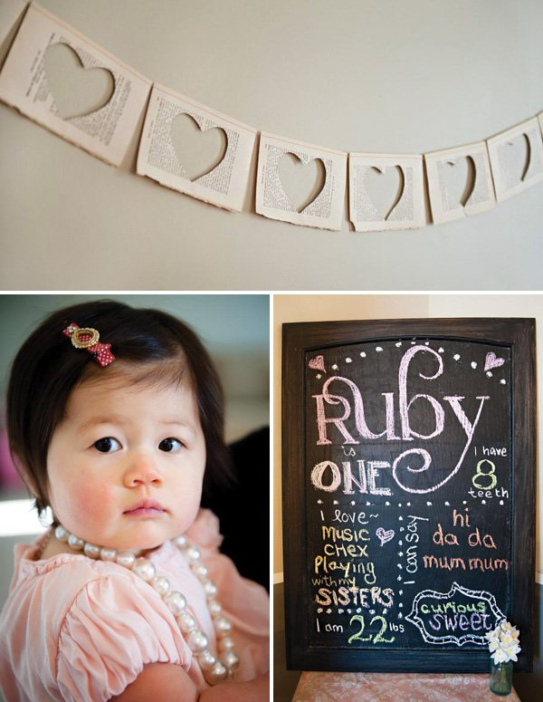 chalkboard first birthday sign and book pages garland