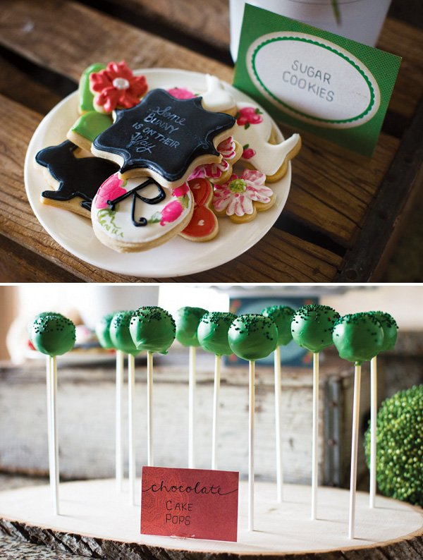 chalkboard and garden flower and bunny cookies