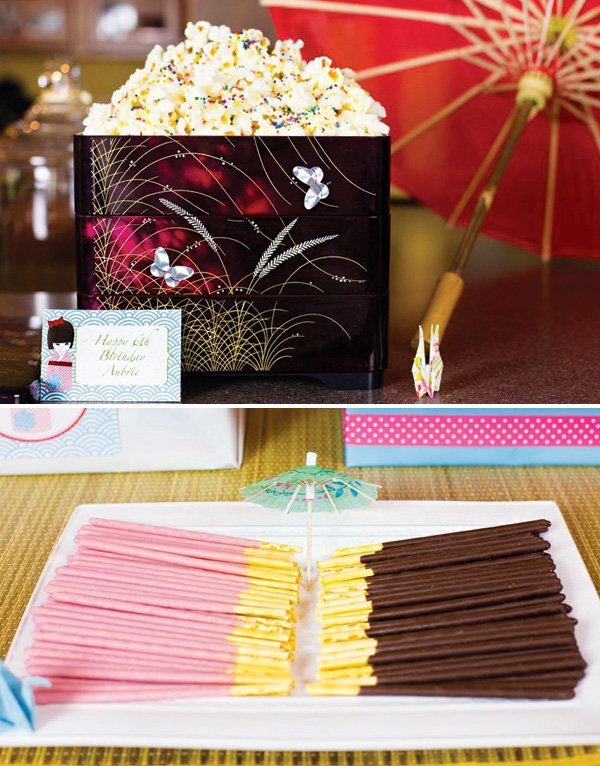 rainbow popcorn and chocolate pocky sticks