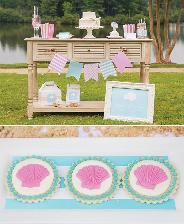 mermaid desserts table and clamshell cookies