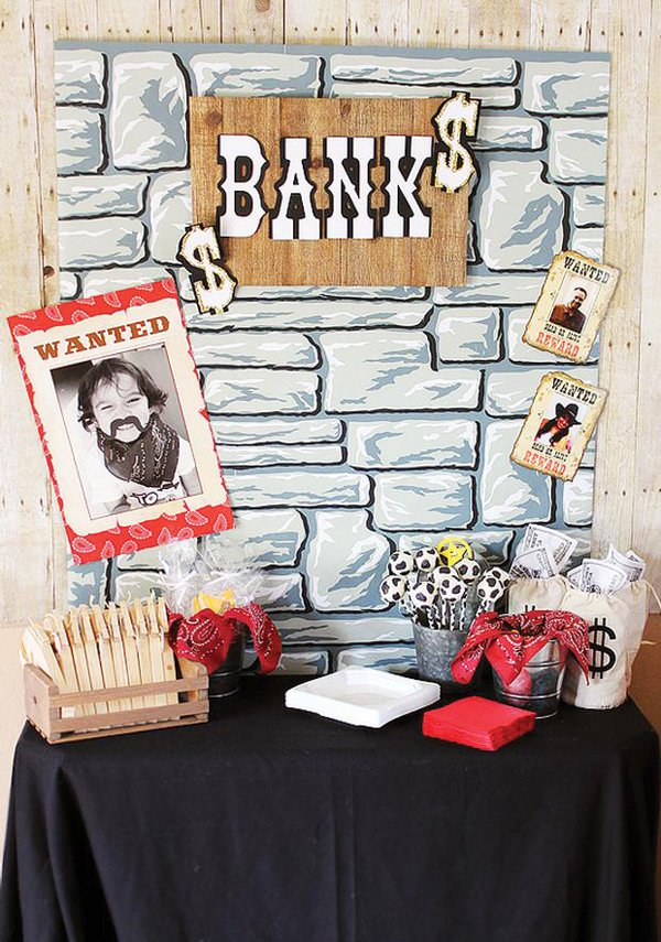 cowboy bank and wanted posters