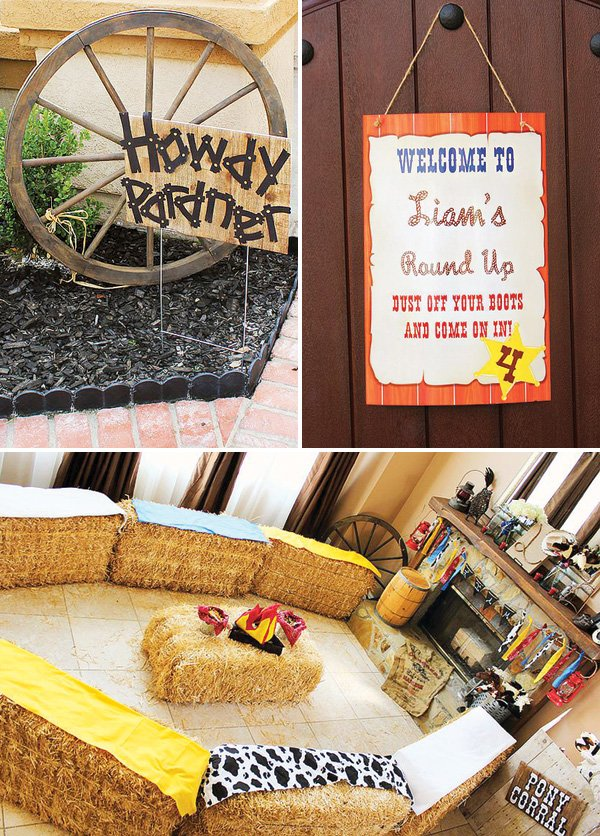 cowboy party welcome sign and hay bale sitting area
