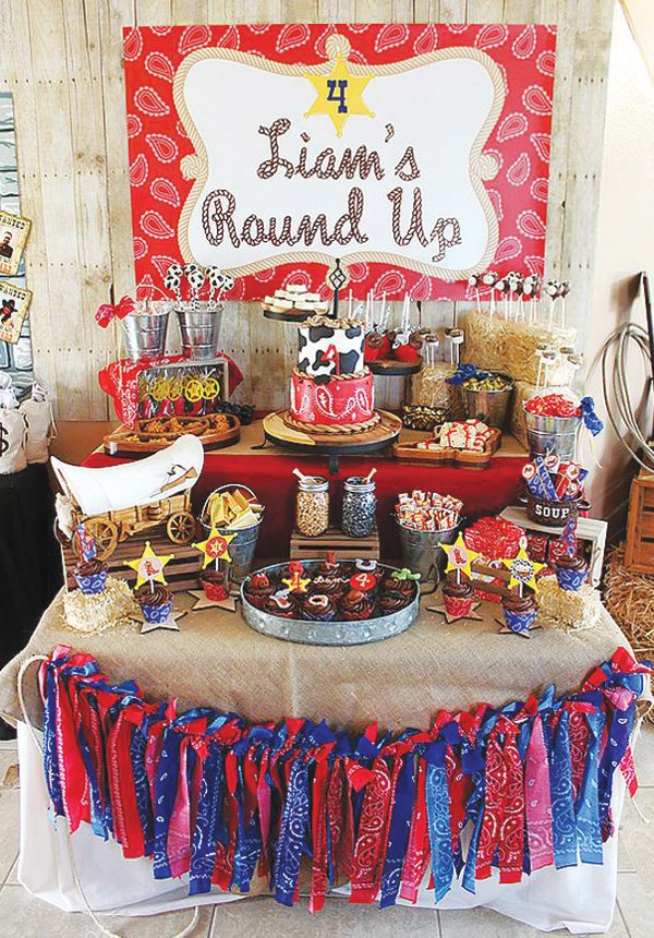 cowboy round up birthday party dessert table