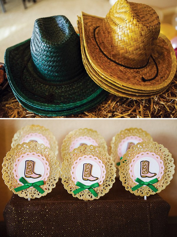 cowgirl boot lollipops and cowboy hat favors