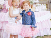 cowgirls in pink tutus for a western photo shoot