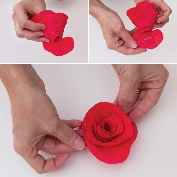 crepe paper roses tutorial 4