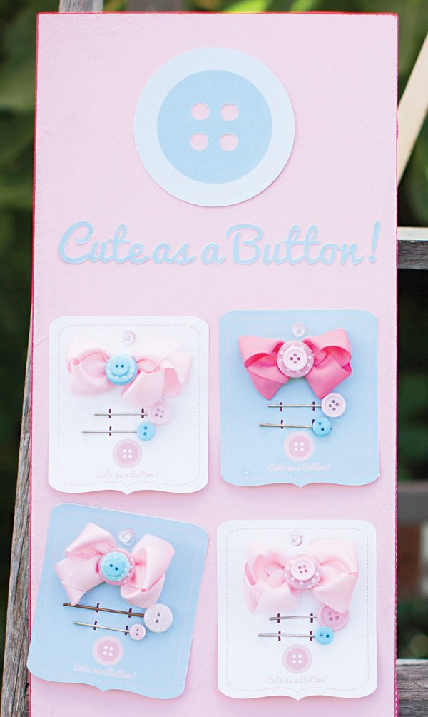 cute as a button hair clip party favors