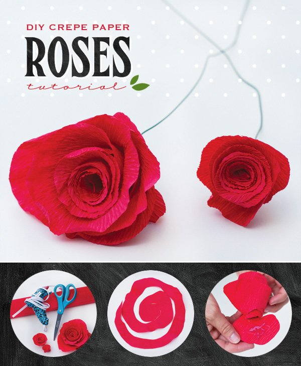 DIY Crepe Paper Roses Tutorial by HWTM